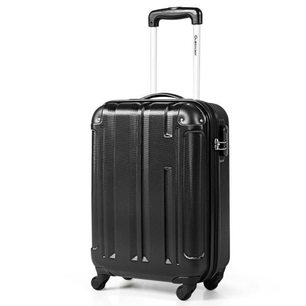 """18"""" Abs Lightweight Hardshell Luggage Suitcase With 4-Wheel-Black BG50652BK"""
