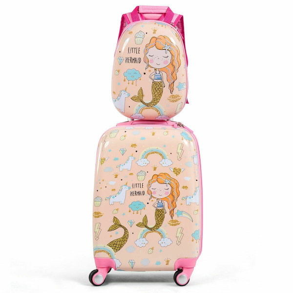 2Pc Kids Luggage Set Rolling Suitcase & Backpack-Pink BG50925