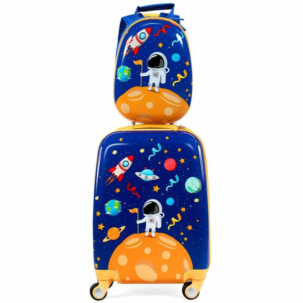 2Pc Kids Luggage Set Rolling Suitcase & Backpack-Navy BG50926