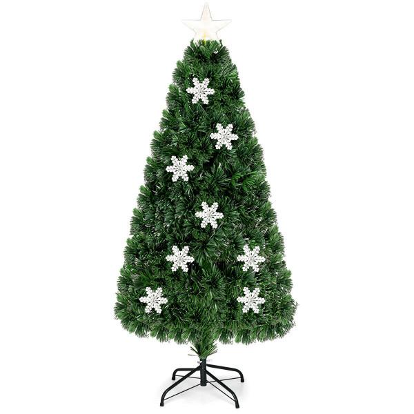 3' / 4' / 5' / 6' Fiber Optic Artificial Christmas Tree W/ Lights & Snowflakes-5' CM20529