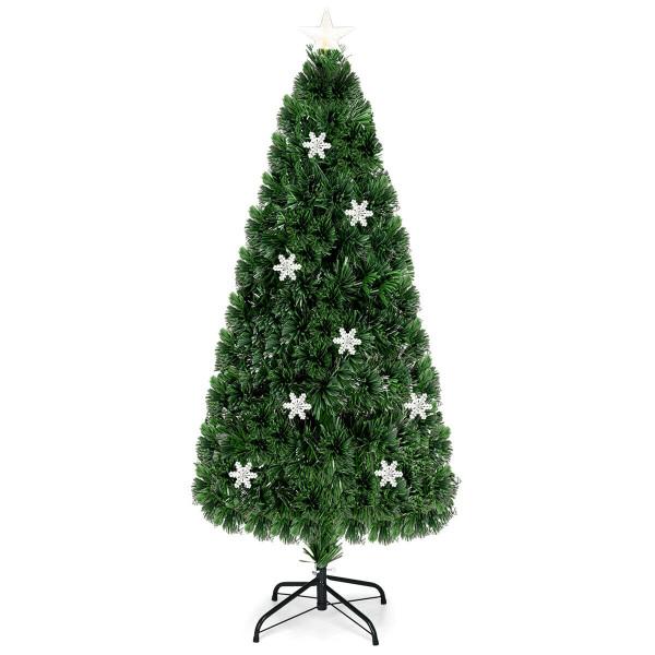 3' / 4' / 5' / 6' Fiber Optic Artificial Christmas Tree W/ Lights & Snowflakes-6' CM20530