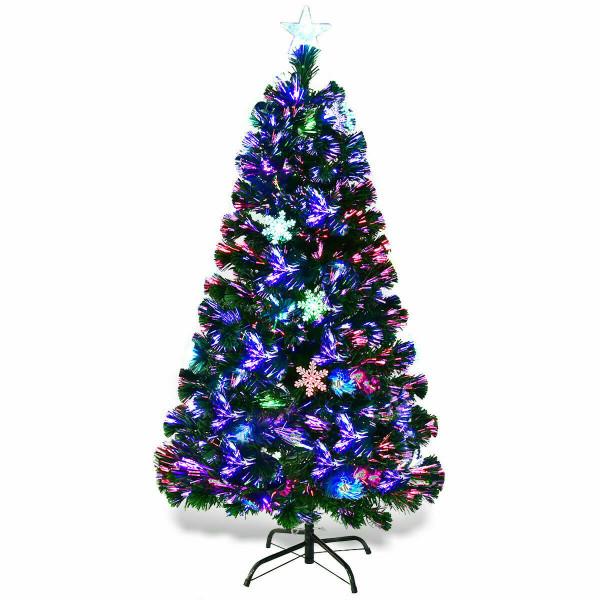 4'/5'/6'/7' Multi-Color Lights Artificial Christmas Tree W/ Snowflakes-5' CM20567