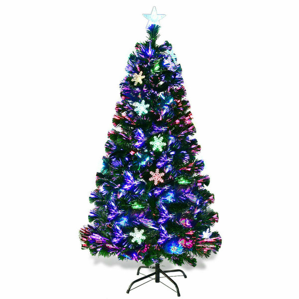 4'/5'/6'/7' Multi-Color Lights Artificial Christmas Tree W/ Snowflakes-6' CM20568