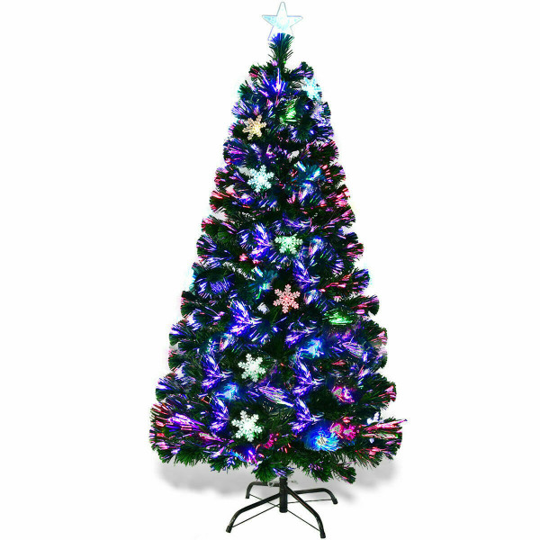4'/5'/6'/7' Multi-Color Lights Artificial Christmas Tree W/ Snowflakes-7' CM20569