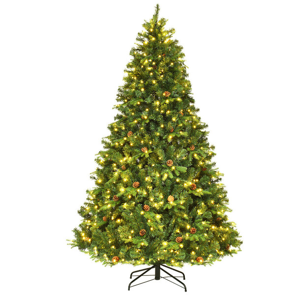7.5 Ft Pre-Lit Artificial Christmas Tree W/ 540 Led Lights & Pine Cones CM20636