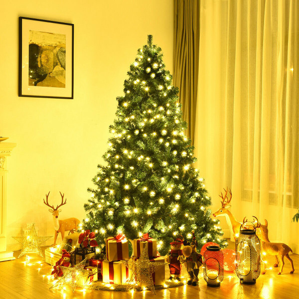 7 Ft Pre-Lit Pvc Artificial Christmas Tree W/ 300 Led Lights & Stand CM20638