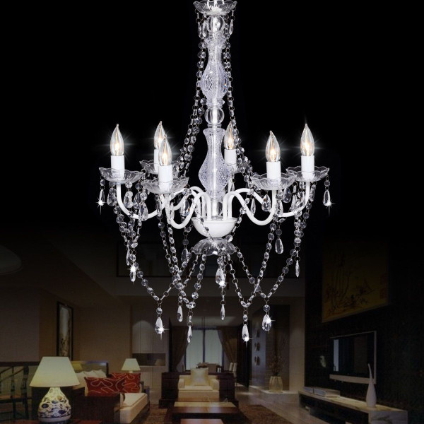 6 Lights Clear Pendant Crystal Candle Chandeliers Lighting EP23293