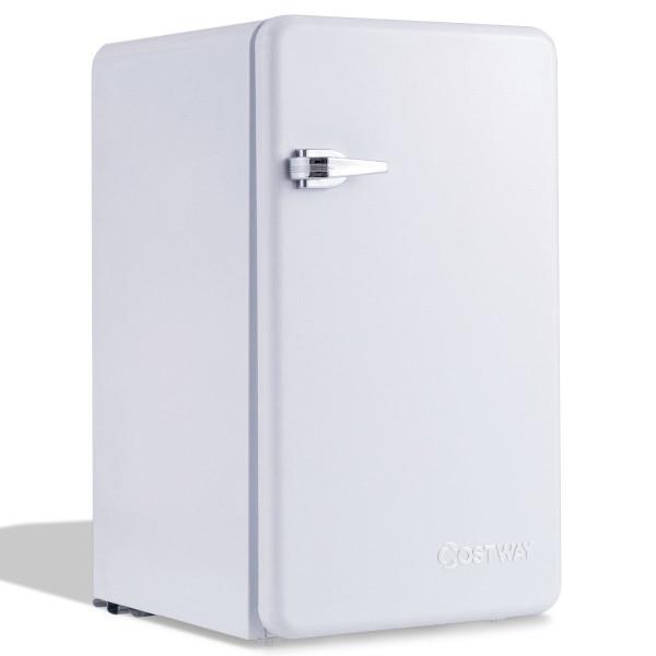 3.2 Cu Ft Retro Compact Refrigerator W/ Freezer Interior Shelves Handle-White EP23342WH