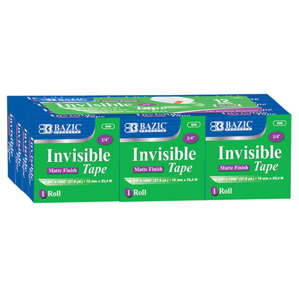 Bazic 12Pk Refill Invisible Tape BAZ906