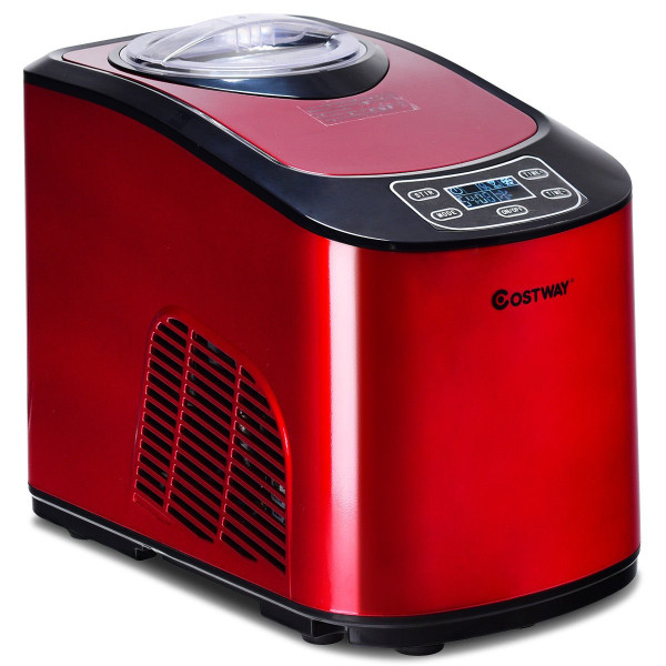 1.6 Quart Automatic Ice Cream Maker Frozen Dessert Machine Lcd Digital Display-Red EP23675RE