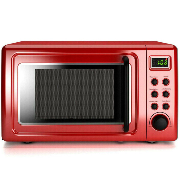 700W Glass Turntable Retro Countertop Microwave Oven-Red EP23853RE