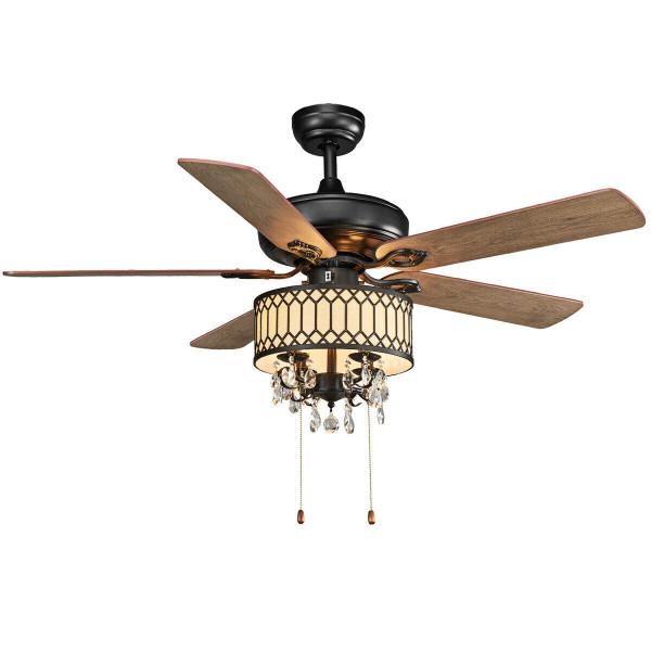 "52"" Crystal Ceiling Fan Lamp W/ 5 Reversible Blades-Black EP24375BK"