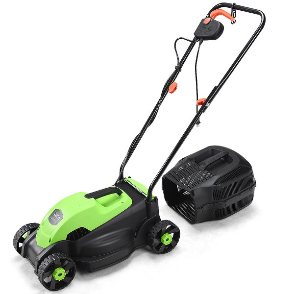 """13"""" Electric Push Lawn Corded Mower With Grass Bag-Green ET1279GN"""