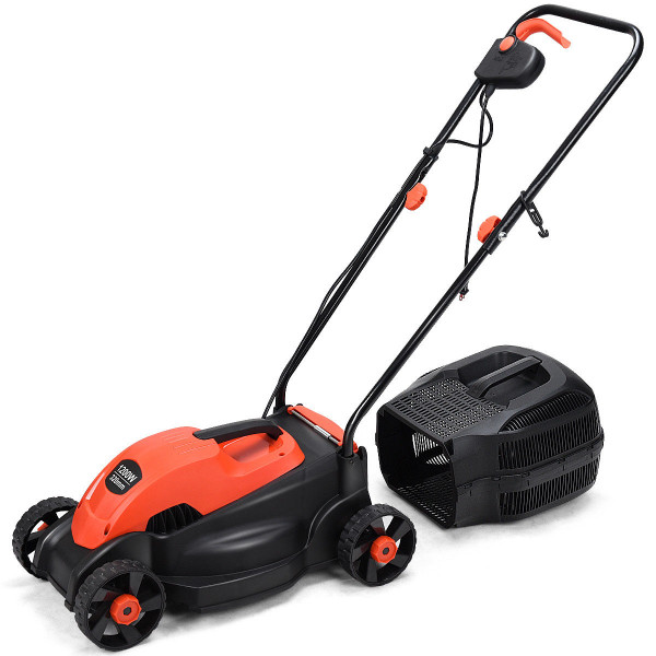 """13"""" Electric Push Lawn Corded Mower With Grass Bag-Red ET1279RE"""