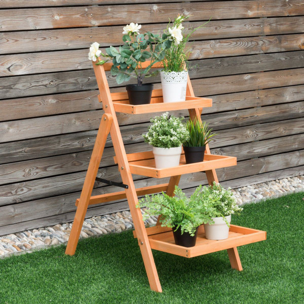 3 Tier Outdoor Wood Flower Folding Pot Shelf Stand GT3204