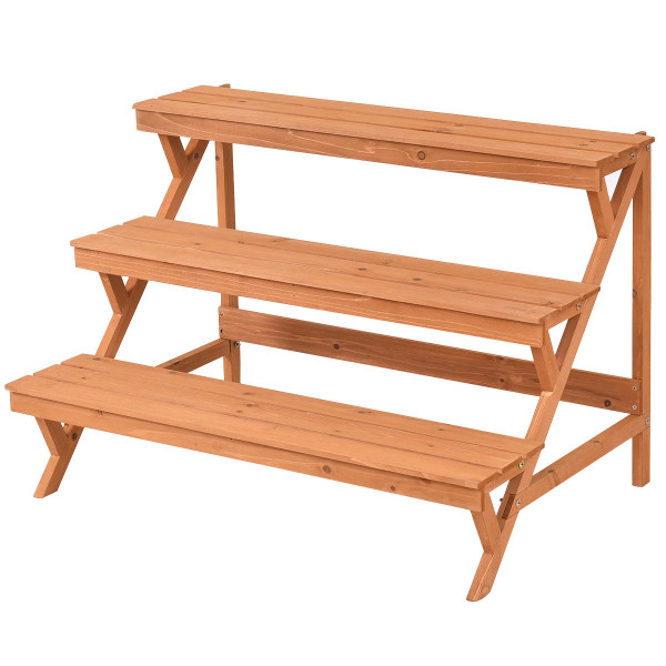 3 Tiers Wooden Step Ladder Plant Pot Rack Stand GT3213