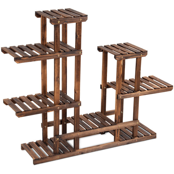 6 Tier Wooden Shelf Storage Plant Rack Stand GT3271