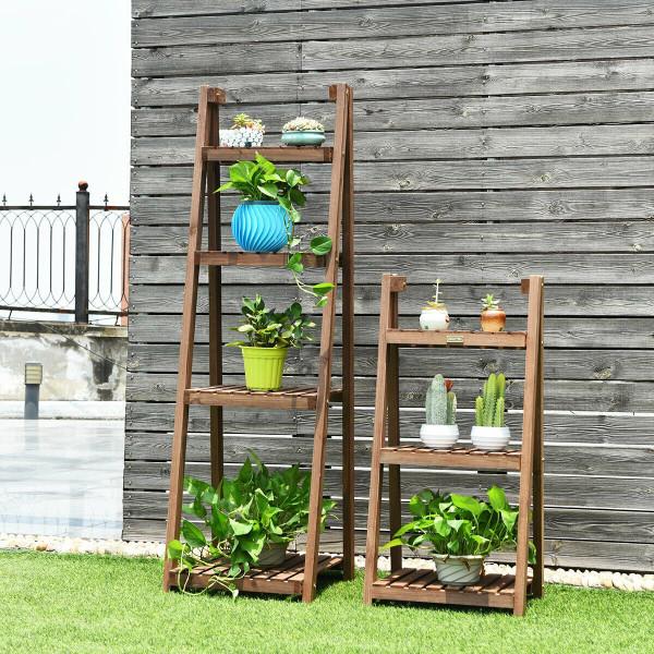 Folding Flower Stand Rack Wood Plant Storage Display Shelf GT3426