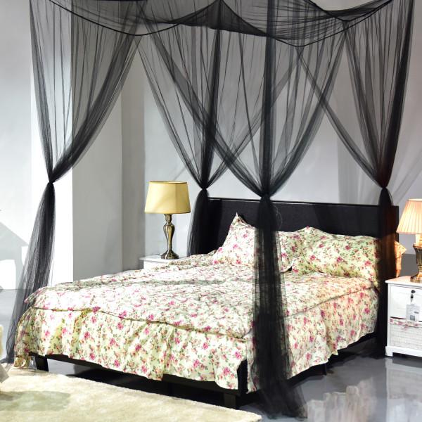4 Corner Post Full Queen King Size Bed Mosquito Net-Black HT0585BK - (Pack Of 2)