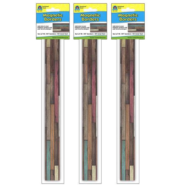 (3 Pk) Reclaimed Wood Magnetic Border TCR77010BN
