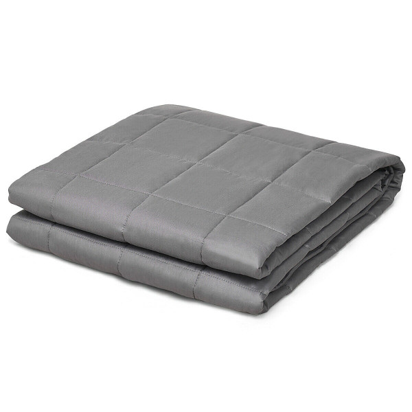 12 Lbs Weighted Blankets 100% Cotton With Glass Beads-Dark Gray HT1009GR