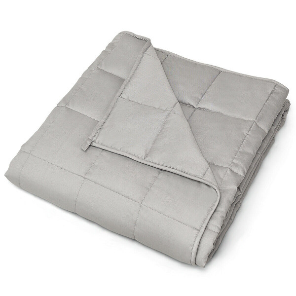 15 Lbs 100% Cotton Weighted Blankets-Light Gray HT1011HS
