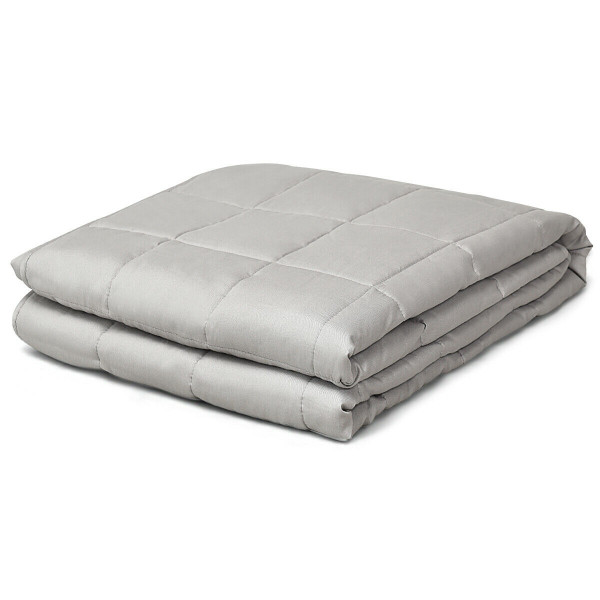 25 Lbs Weighted Blankets 100% Cotton With Glass Beads -Light Gray HT1015HS