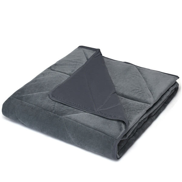 Crystal Velvet Fabric Weighted Blanket With Glass Beads-15 Lbs HT1027