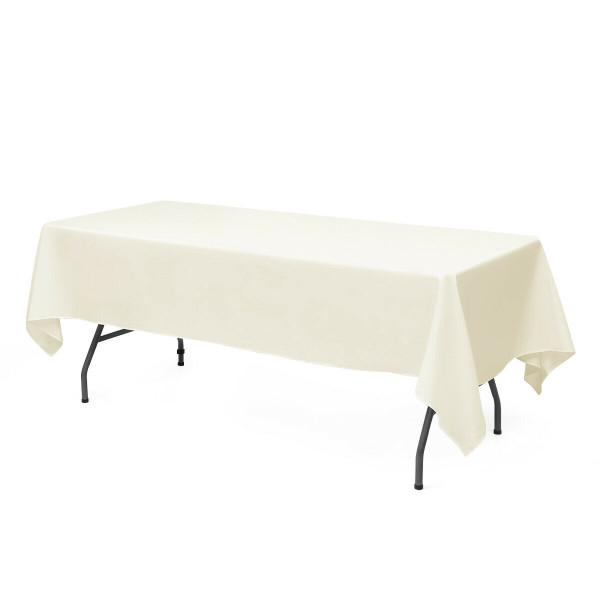 "10 Pcs 60"" X 102"" Rectangle Polyester Tablecloth-Ivory HT1051VY"