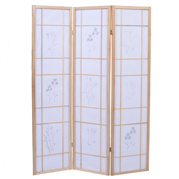3 Panels Printing Flower Solid Wood Room Screen-Natrual HW48386NA
