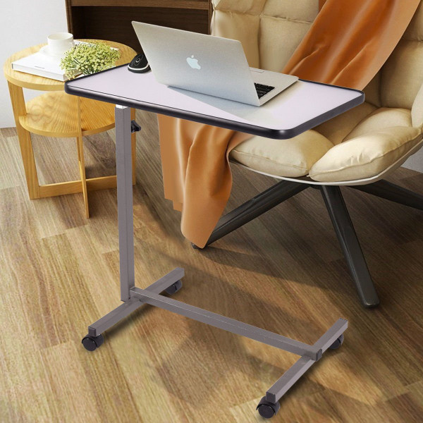 Gray Overbed Rolling Table Food Tray HW49070GR