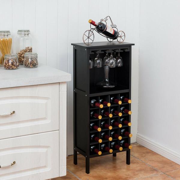 20 Bottles Wood Storage Glass Holder Cabinet Wine Rack-Black HW51149BK