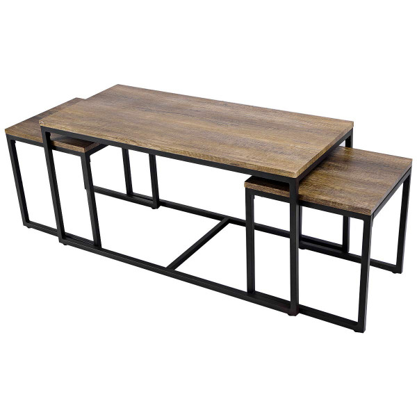 3 Pieces Wood Coffee End Table Set HW51984
