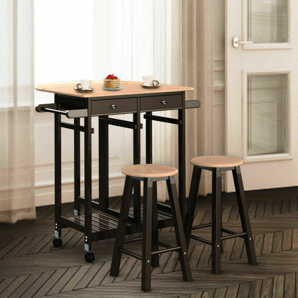 3 Pcs Rolling Kitchen Island Cart With 2 Stools HW51992