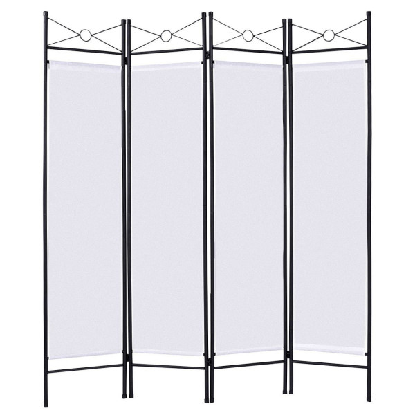 4 Panels Metal Frame Room Private Folding Screen-White HW52018WH