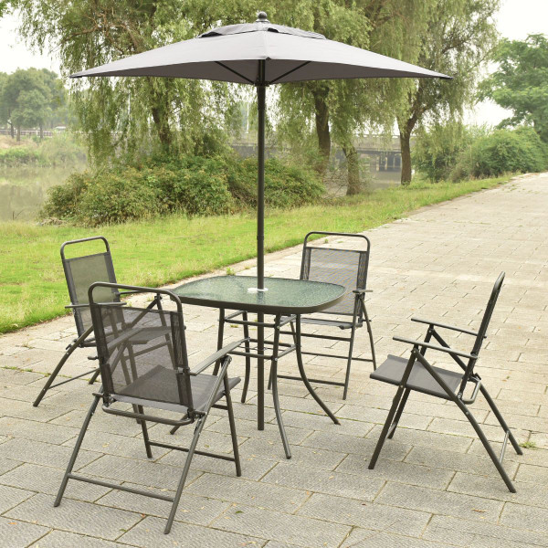 6 Pcs Patio Folding Furniture Set With An Umbrella HW52131