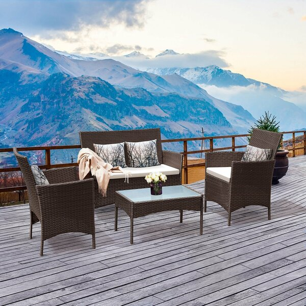 4 Pcs Outdoor Patio Rattan Wicker Cushioned Sofa Table HW52188