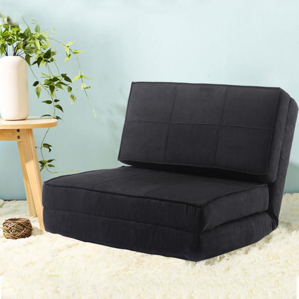 Convertible Lounger Folding Sofa Sleeper Bed-Black HW52445BK