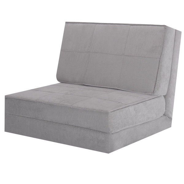 Convertible Lounger Folding Sofa Sleeper Bed-Gray HW52445GR