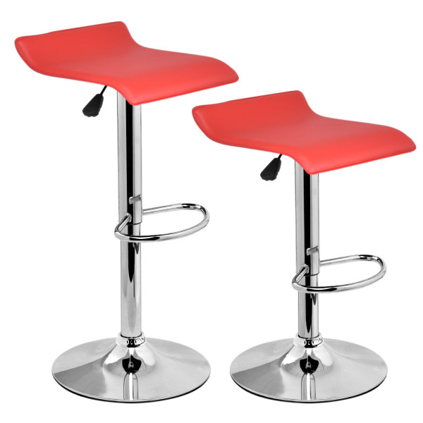 Set Of 2 Modern Bar Stools Dinning Counter Chairs-Red HW52576RE
