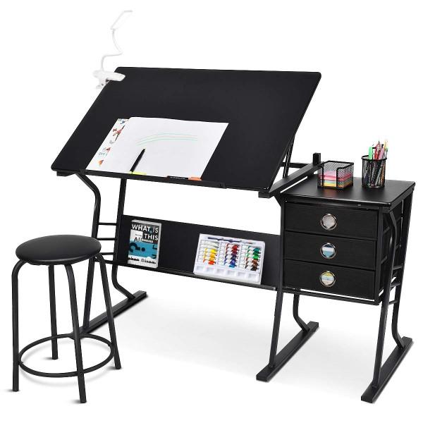Black Adjustable Drafting Table W/ Stool & Side Drawers HW52825