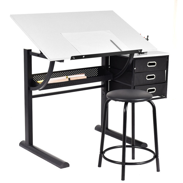 Adjustable Drafting Table Art & Craft Drawing Desk W/Stool HW52946