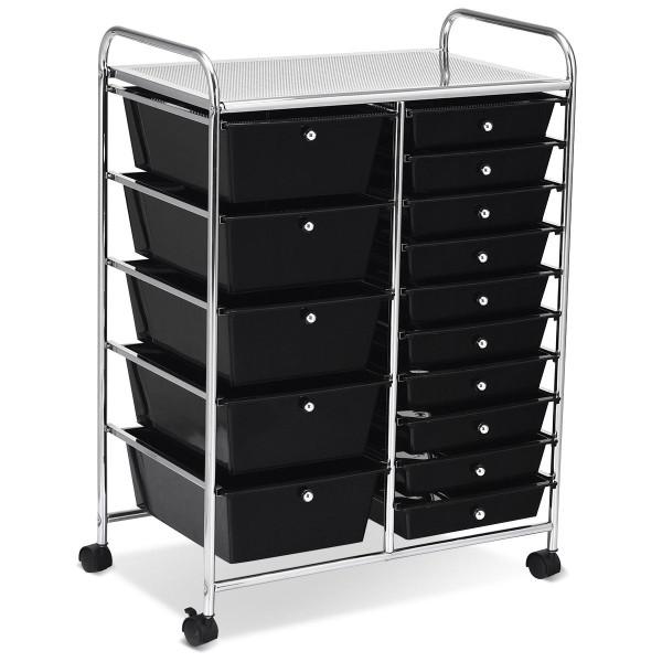 15-Drawer Utility Rolling Organizer Cart Multi-Use Storage-Black HW53825BK