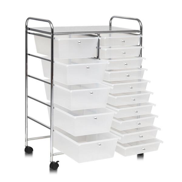 15 Drawers Rolling Storage Cart Organizer-Clear HW53825CL