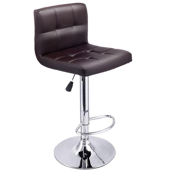 1 Pc Bar Stool Swivel Adjustable Pu Leather Barstools Bistro Pub Chair-Brown HW53843BN