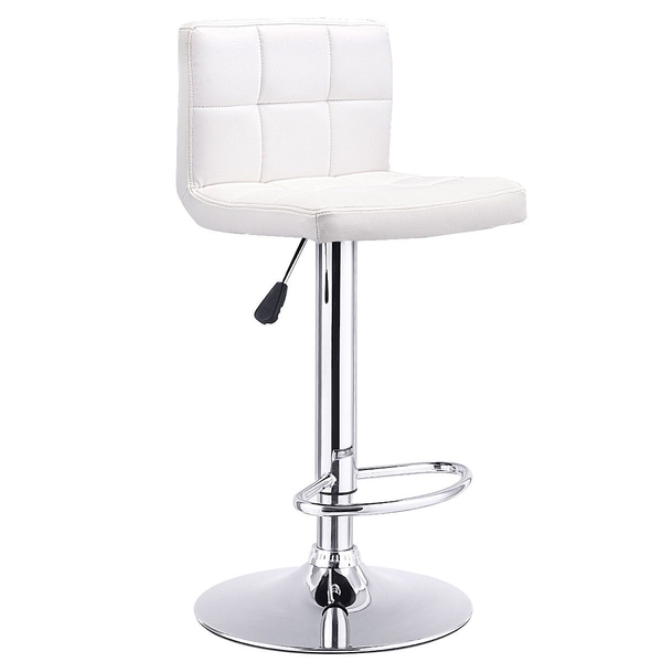1 Pc Bar Stool Swivel Adjustable Pu Leather Barstools Bistro Pub Chair-White HW53843WH
