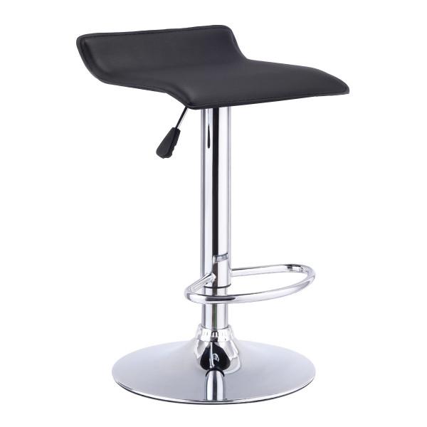 1 Pc Swivel Bar Stool Adjustable Modern Leather Dinning Counter Chair-Black HW53844BK