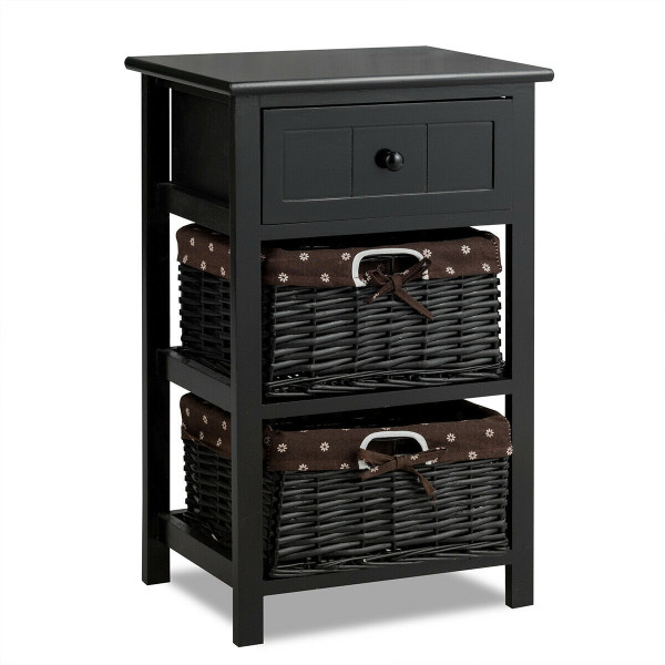 3 Layer 1 Drawer Nightstand End Table With 2 Baskets-Black HW53924BK