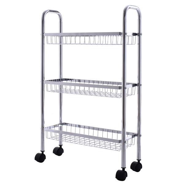 3-Tiers Metal Storage Rack Baskets Shelf HW54069 - (Pack Of 2)