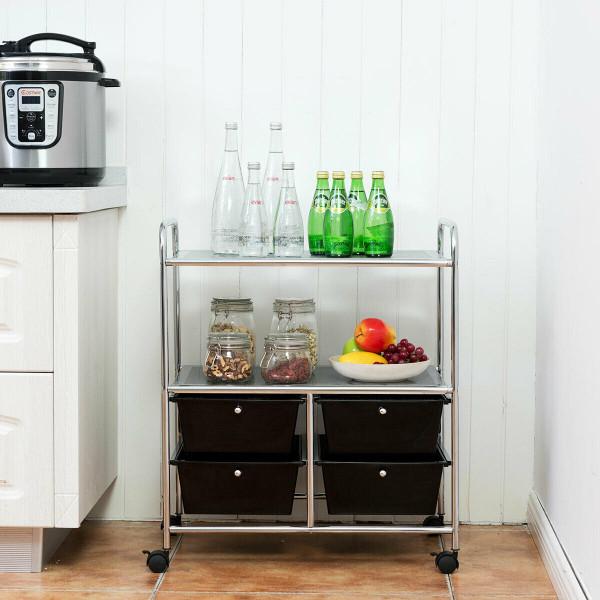 4 Drawers Shelves Rolling Storage Cart Rack-Black HW54070BK